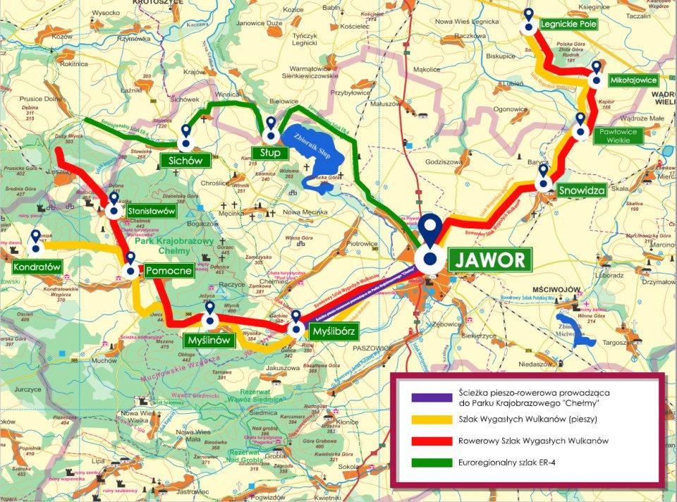 Mapa-główne szlaki rowerowe